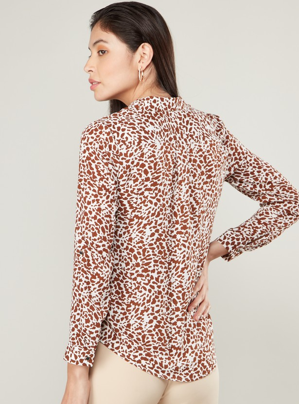 Animal Print Button-Down Shirt with Spread Collar and Long Sleeves