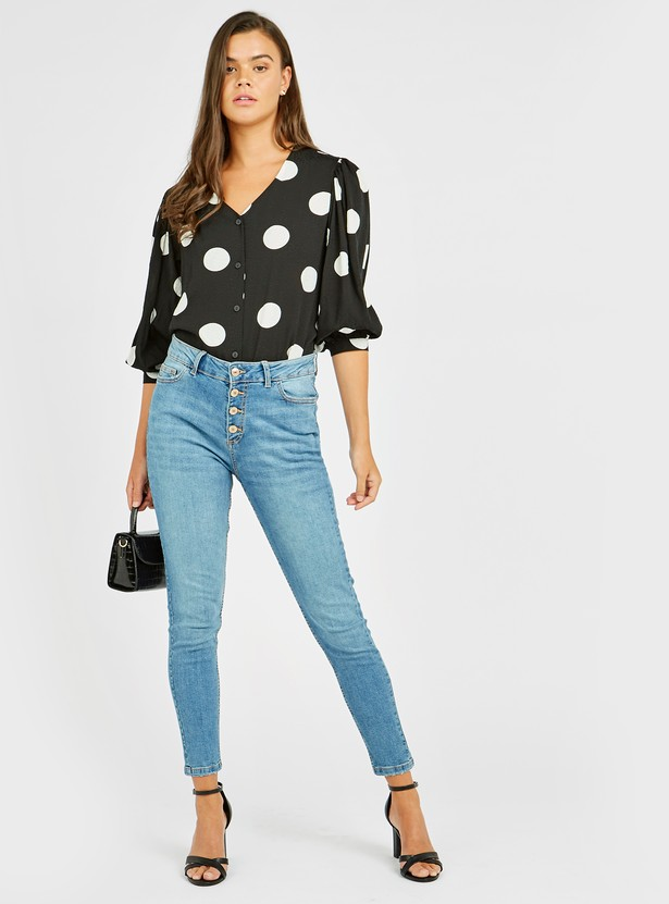 Polka Dot Print Shirt with V-neck and 3/4th Sleeves