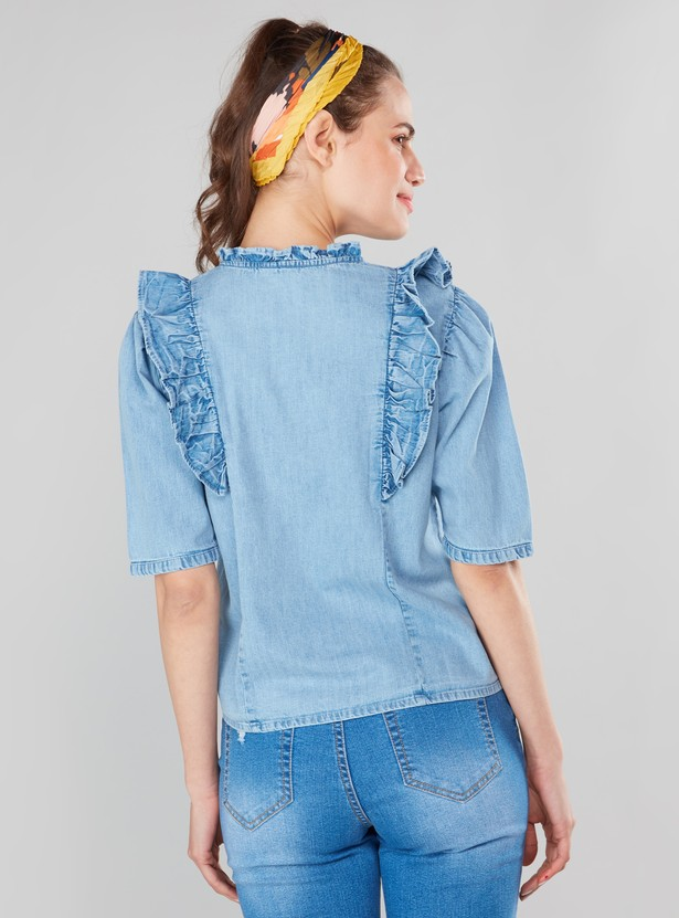 Denim Top with Ruffles and Short Sleeves