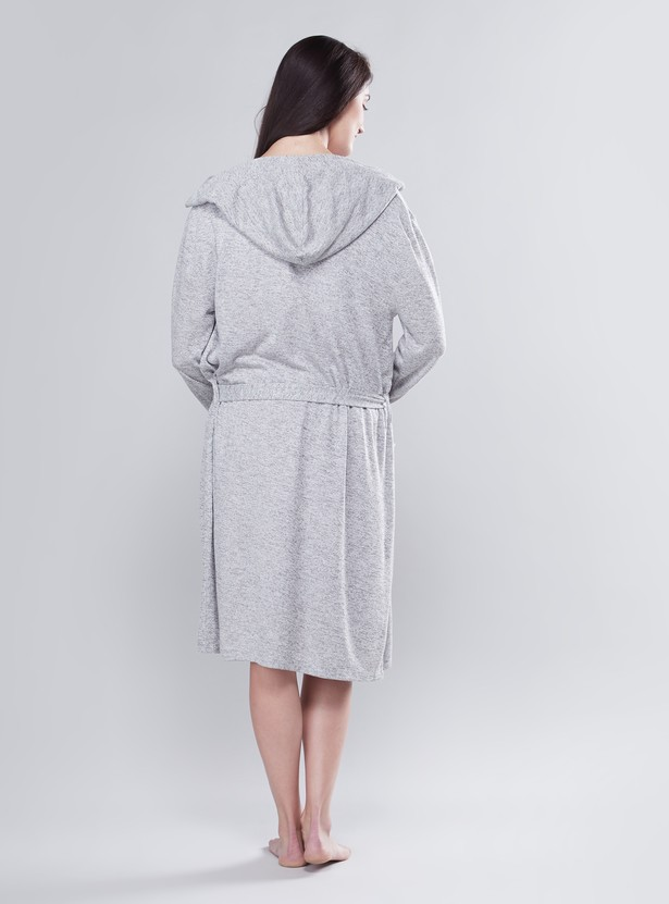 Printed Maternity Sleep Dress with Round Neck and Short Sleeves