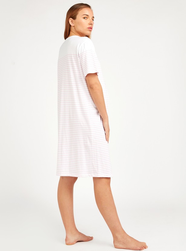 Striped Maternity Sleep Dress with Round Neck and Short Sleeves