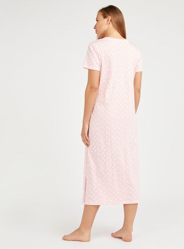 Maternity Super Mom Print Sleepdress with Short Sleeves