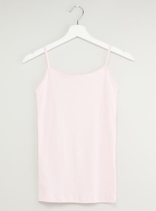 قميص داخلي بدون أكمام مع فيونكات مزخرفة - طقم من قطعتين