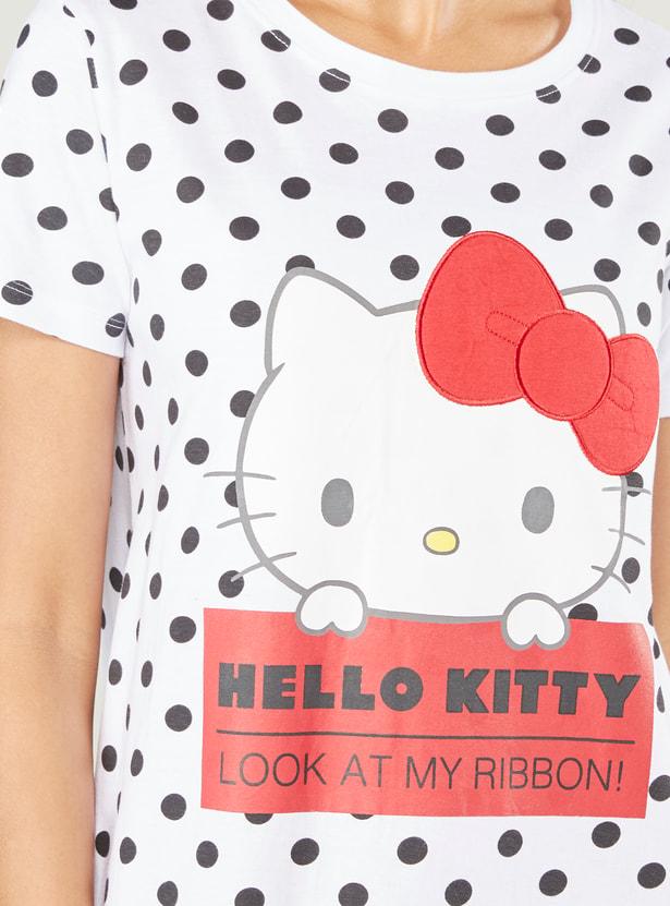Hello Kitty Print Round Neck Sleepshirt with Short Sleeves