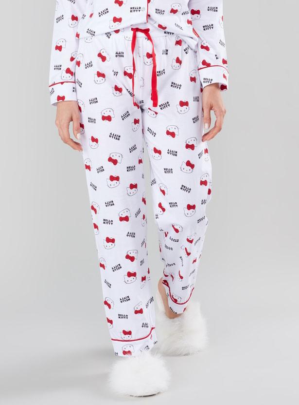 Hello Kitty Prints Long Sleeves Shirt and Pyjama Set