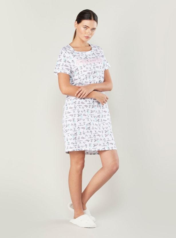 Snoopy Print Sleepshirt with Short Sleeves