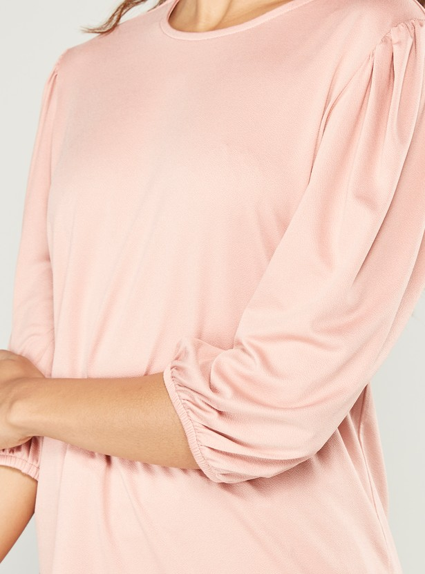 Solid Round Neck Top with 3/4 Sleeves