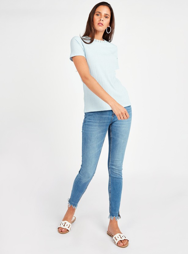 Textured Round Neck Top with Short Sleeves