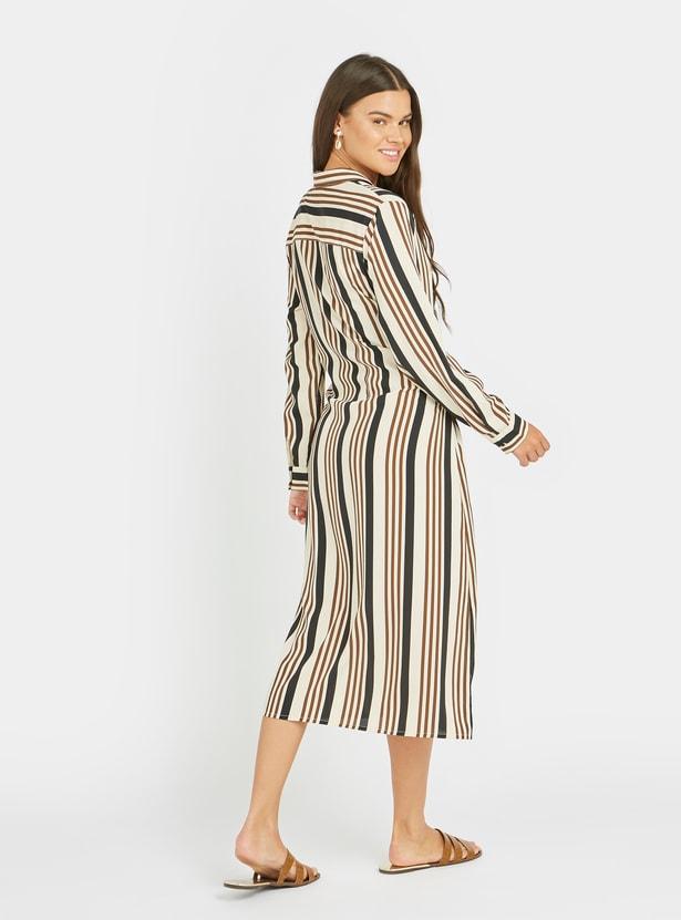 فستان قميص ميدي مخطّط بأكمام طويلة وأربطة