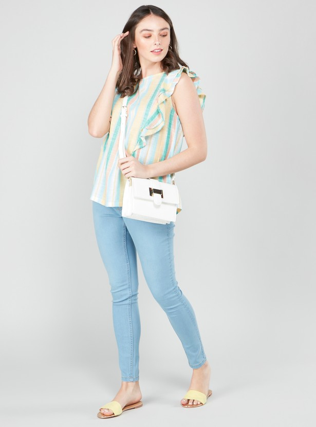 Striped Top with Ruffle Detail and Round Neck