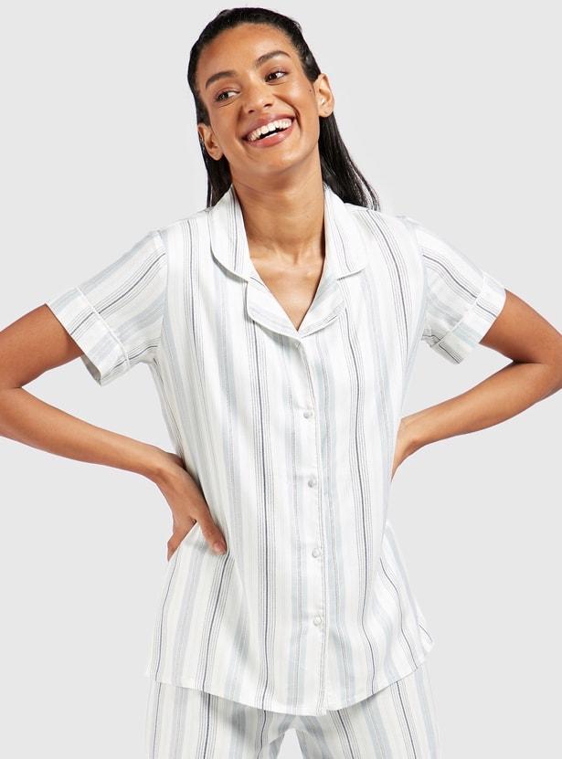 طقم بنطلون بيجاما وقميص نوم مخطط بأكمام قصيرة