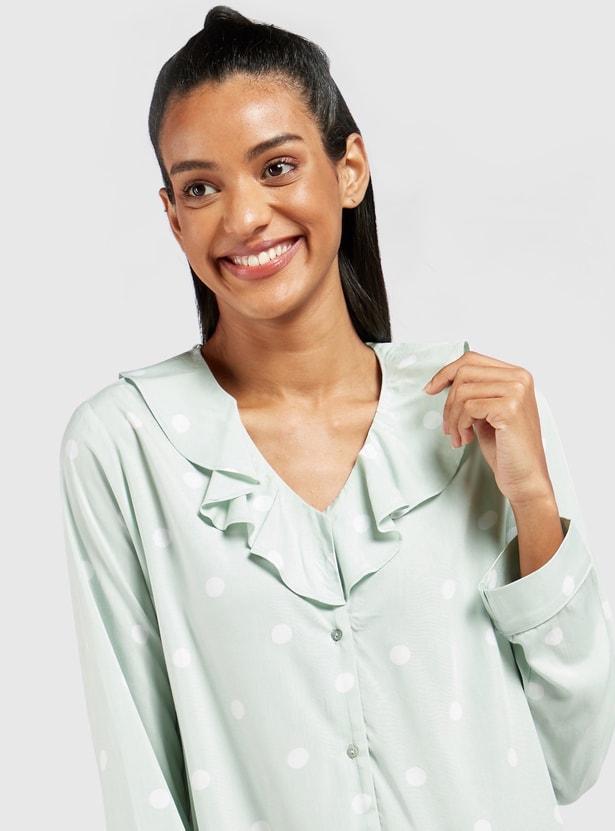 قميص نوم بياقة V وأكمام طويلة وطبعات