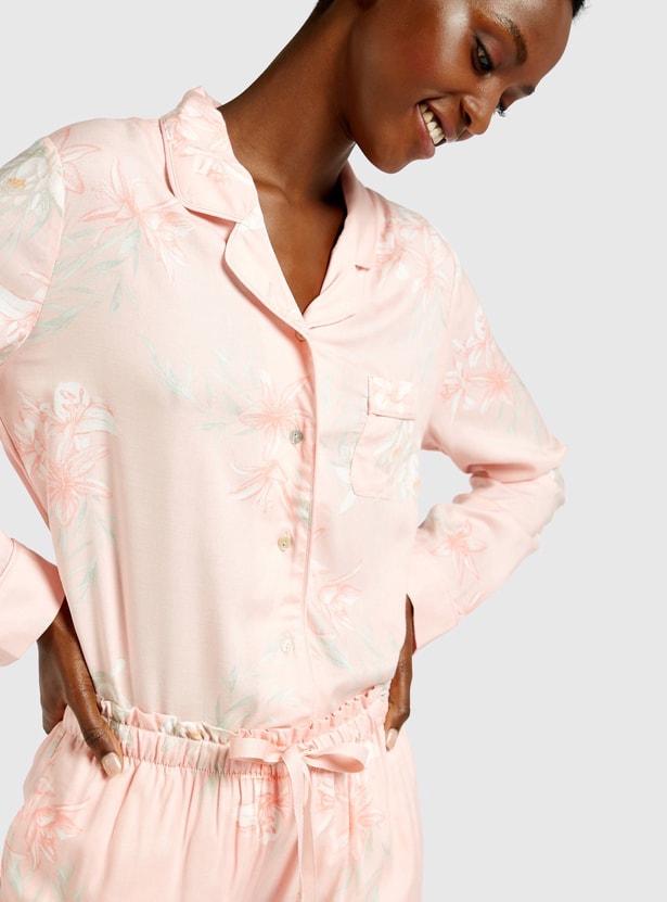 All-Over Floral Print Long Sleeves Sleepshirt and Pyjama Set