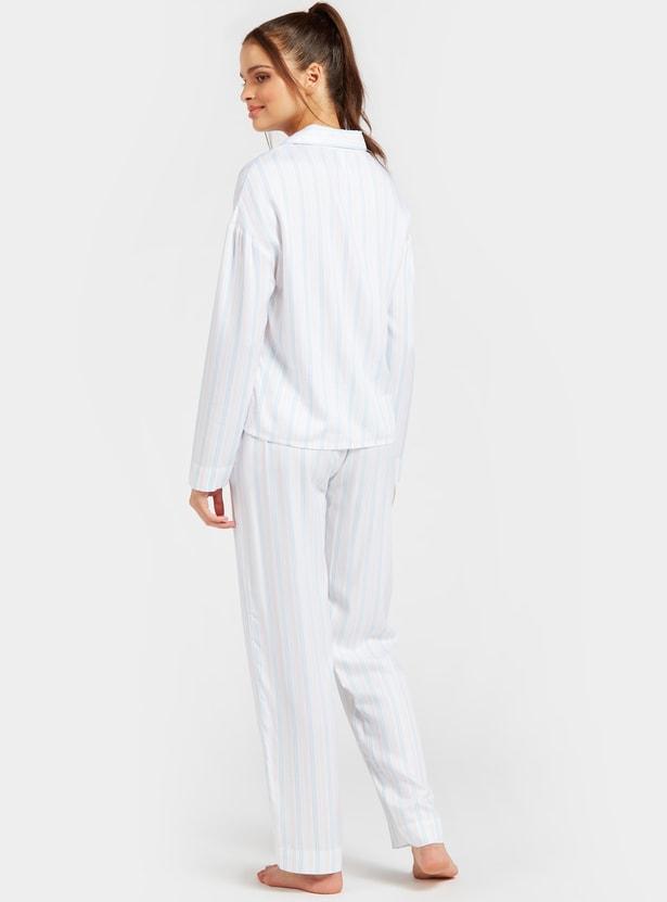 Striped Long Sleeves Sleepshirt and Full Length Pyjama Set