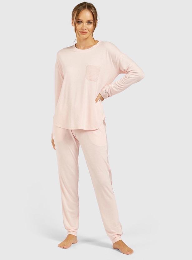 Solid Long Sleeves T-shirt and Full-Length Pyjama Set