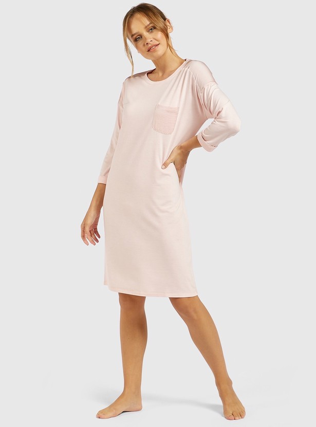 Solid Sleepshirt with Round Neck and Long Sleeves