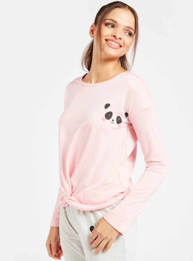 Panda Graphic Print Long Sleeves T-shirt and Pyjama Set