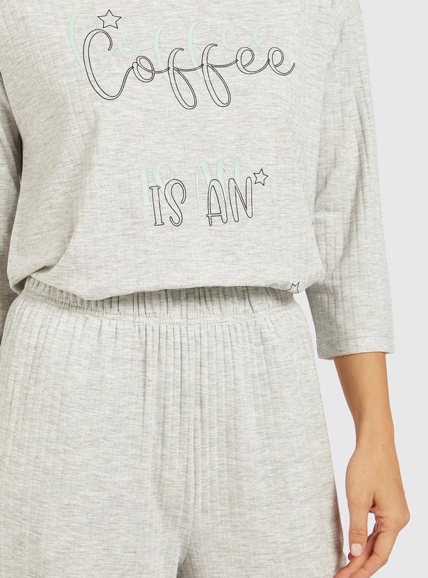 Slogan Print 3/4 Sleeves T-shirt and Full Length Pyjama Set