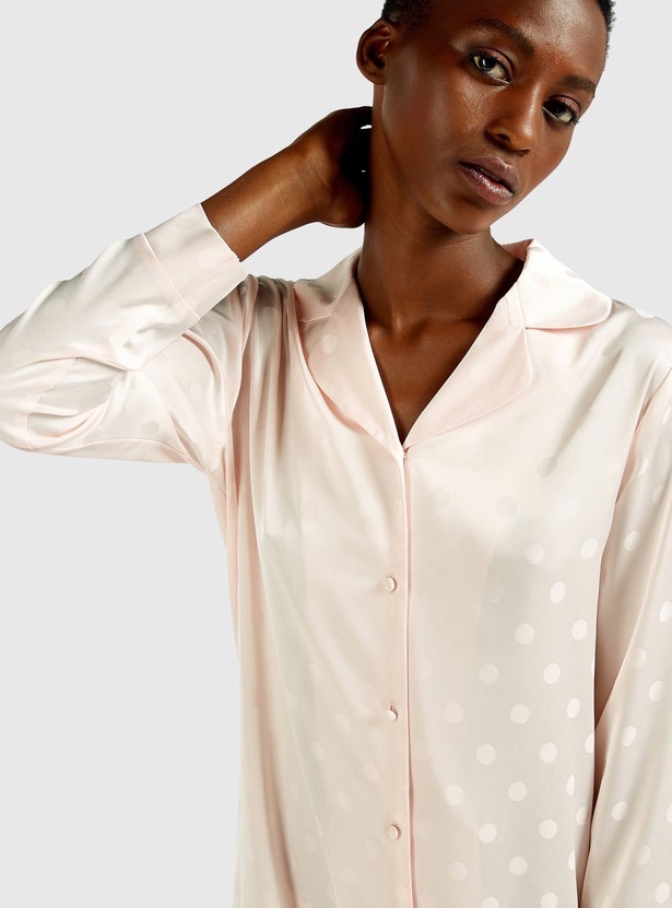 All-Over Print Sleepshirt with Spread Collar and Long Sleeves