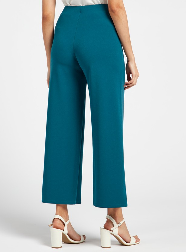 Solid Ankle Length Mid-Rise Palazzo Pants with Buttons