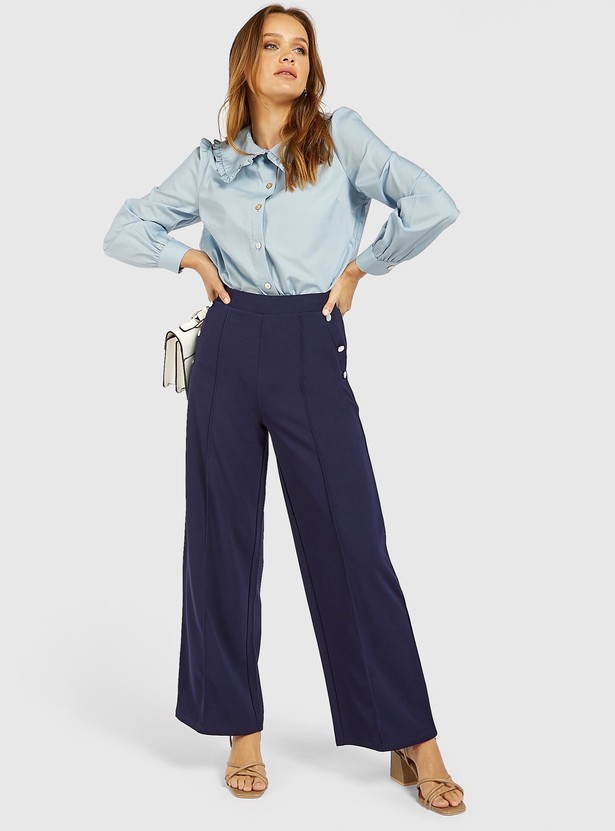 Solid Palazzos with Button Detail and Pockets