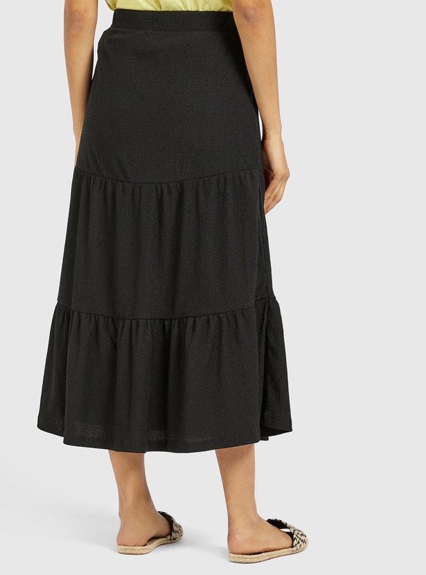 Textured Midi Tiered Skirt with Elasticised Waistband