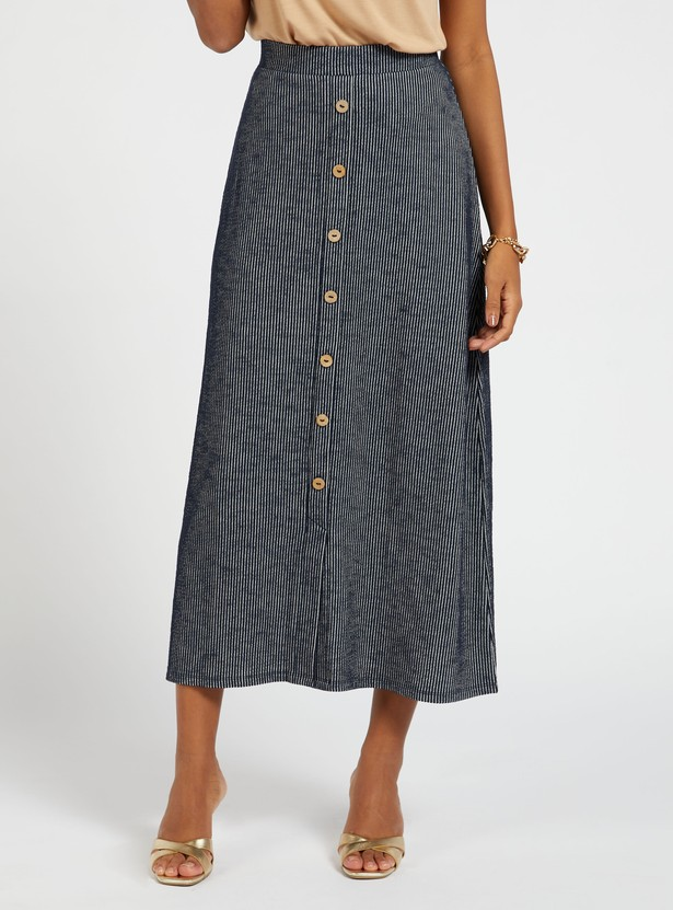 Striped Midi A-line Skirt with Button Detail and Elasticised Waistband