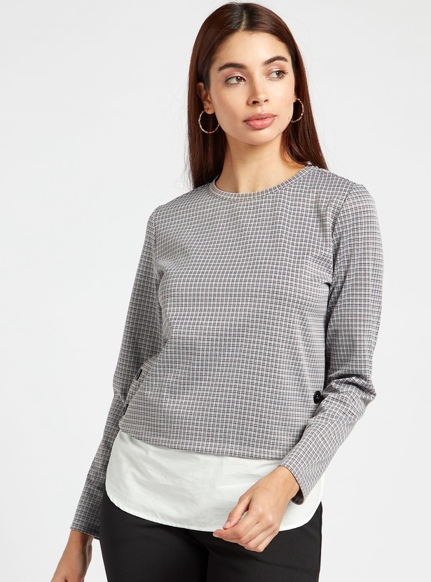 Checked Top with Crew Neck and Long Sleeves
