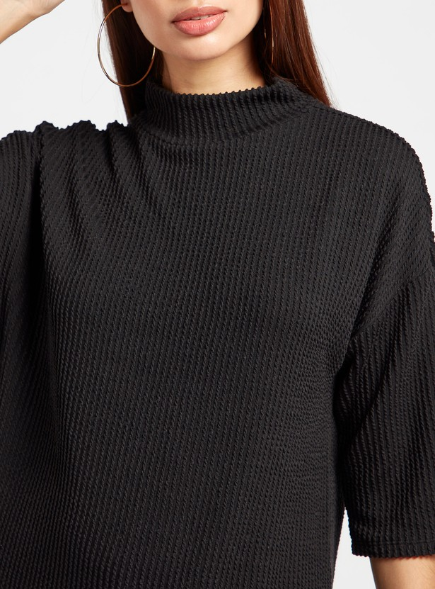 Textured Top with High Neck and 3/4 Sleeves