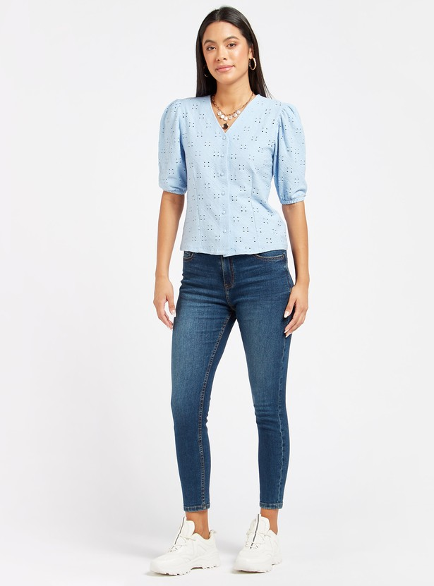 Textured V-neck Top with Short Sleeves and Button Closure