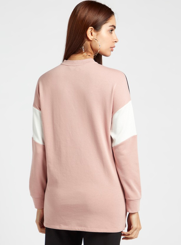 Colourblock Sweatshirt with Long Sleeves and Zip Detail