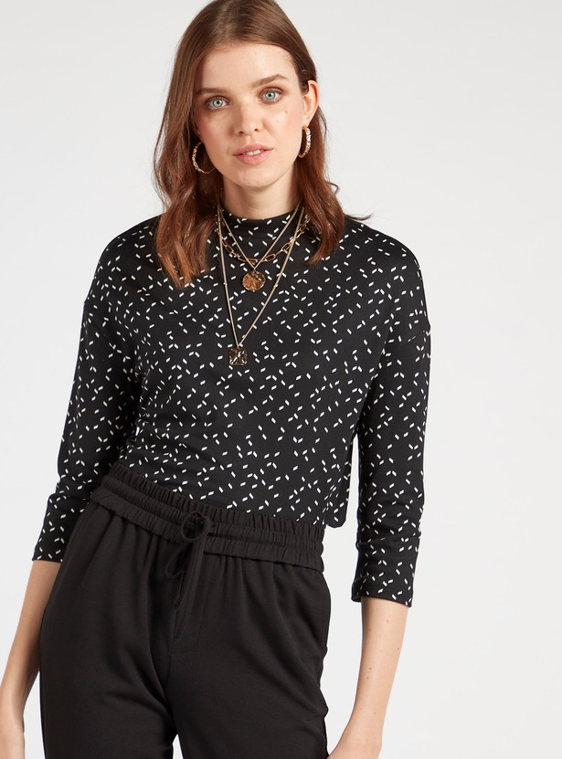 Printed High Neck Top with 3/4 Sleeves