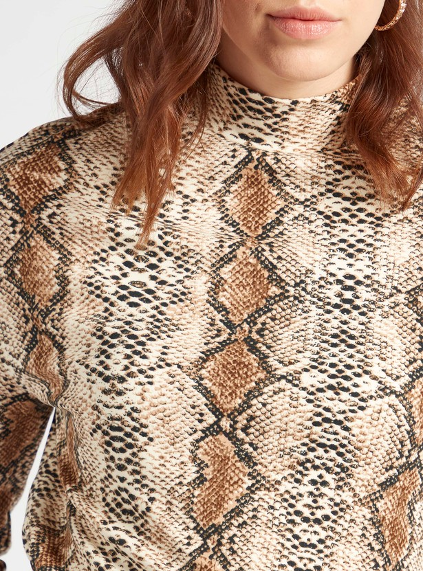 Animal Print High Neck Top with 3/4 Sleeves