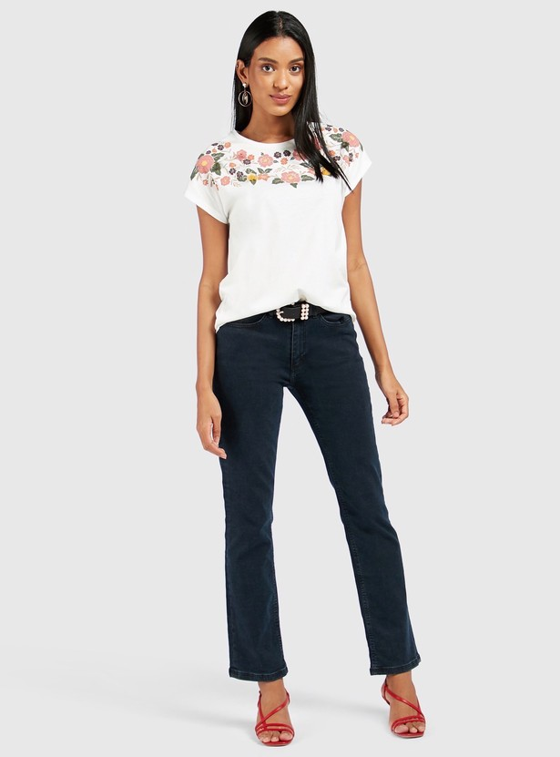 Printed Round Neck T-shirt with Cap Sleeves and Tassel Detail