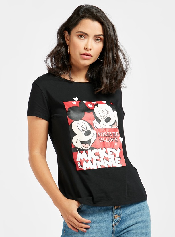 Mickey and Minnie Mouse Print T-shirt with Round Neck and Cap Sleeves