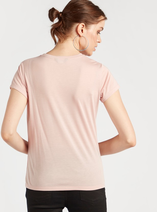 Butterfly Embellished T-shirt with Round Neck and Short Sleeves