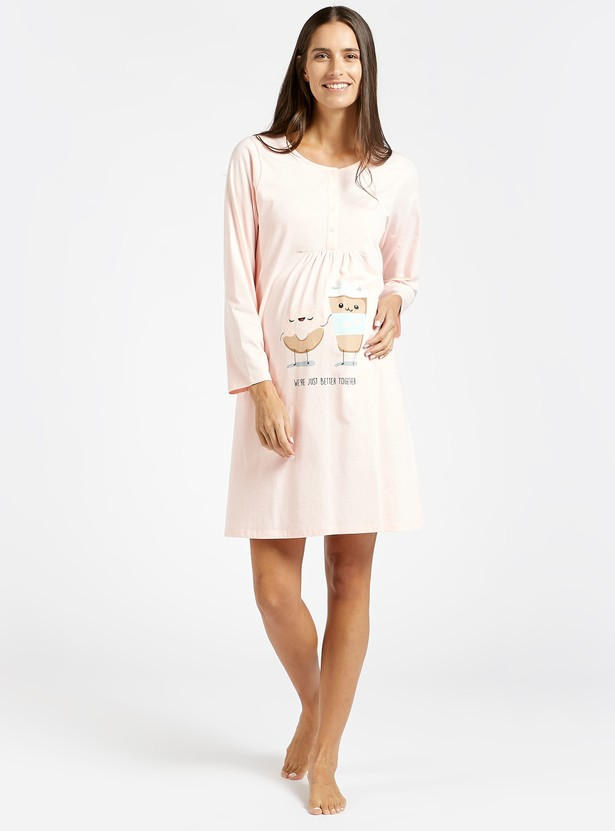 Graphic Print Maternity Sleep Dress with Round Neck and Long Sleeves