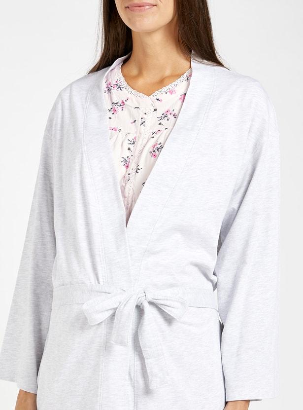 Printed Maternity Sleep Dress and Long Sleeves Robe Set