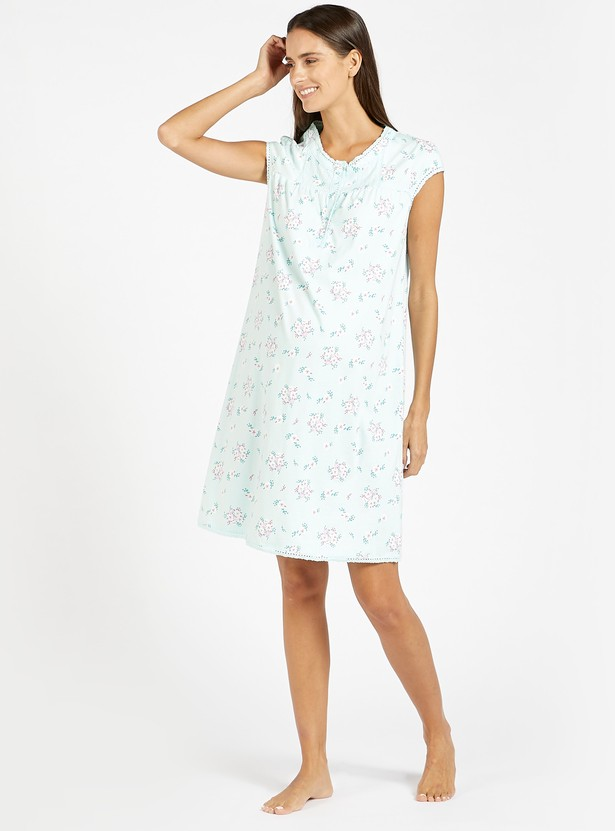 Floral Print Maternity Sleeps Dress with Front Button Closure