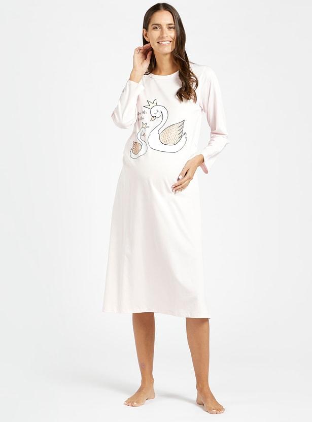 قميص نوم للحوامل بياقة مستديرة وأكمام طويلة وطبعات