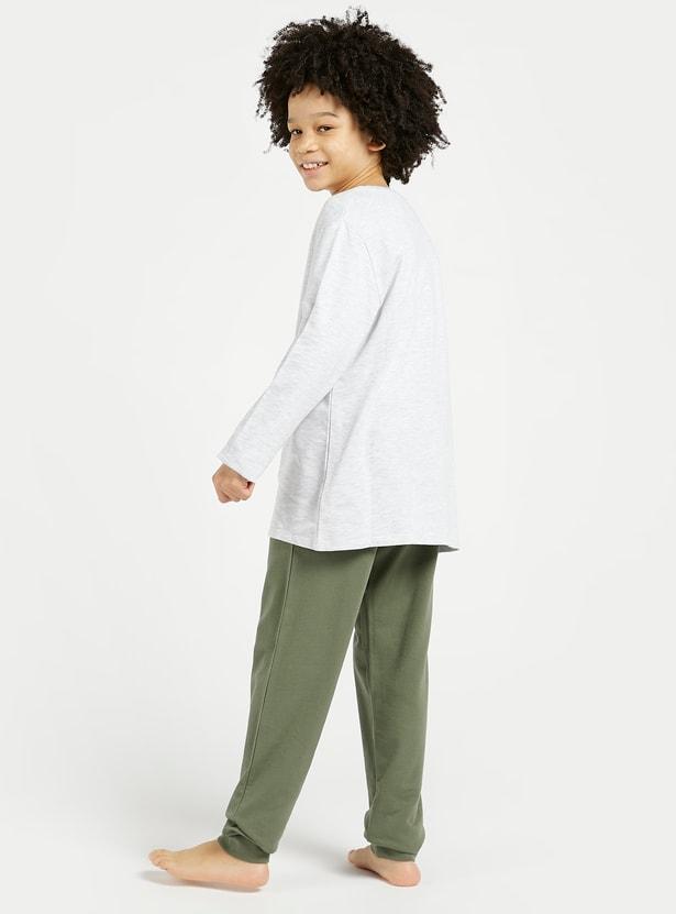 Slogan Print Long Sleeves T-shirt and Jog Pants Set
