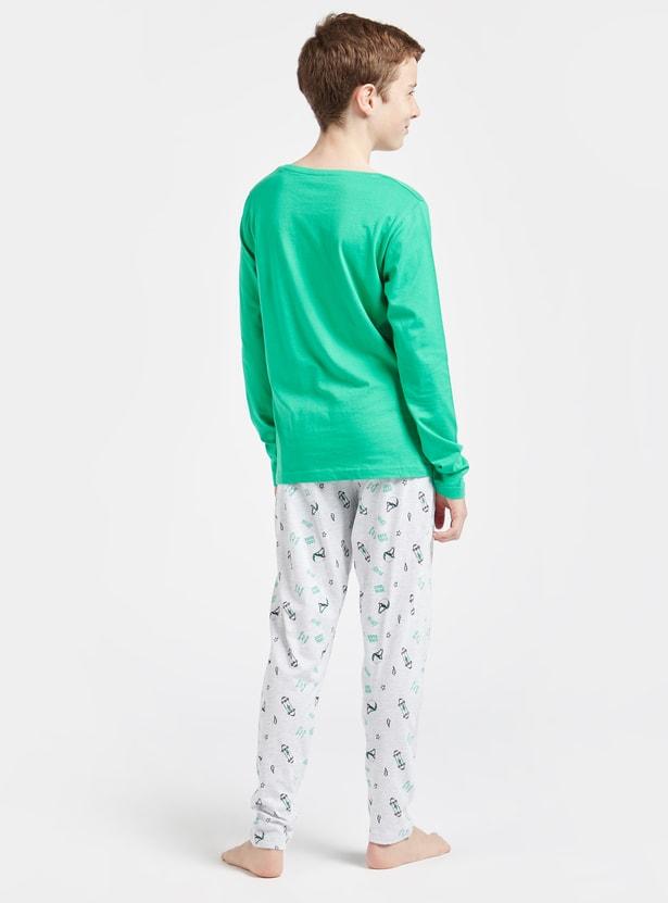 Printed T-shirt with Long Sleeves and Full Length Pyjama Set