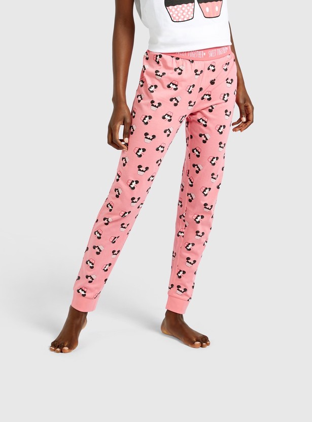 Mickey and Minnie Mouse Print T-shirt and Full Length Jog Pants Set