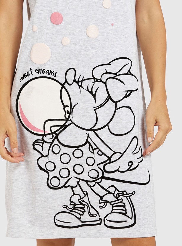 Minnie Mouse Print Sleepshirt with Round Neck and Short Sleeves