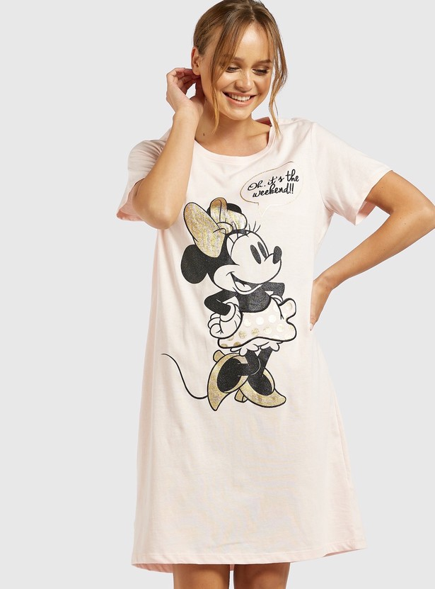 Minnie Mouse Round Neck Sleepshirt with Short Sleeves