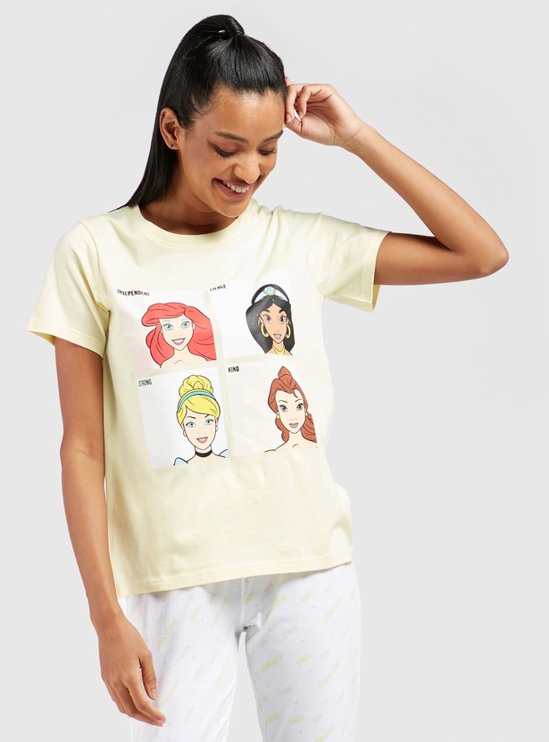 Disney Princess Print Short Sleeves T-shirt and Pyjama Set