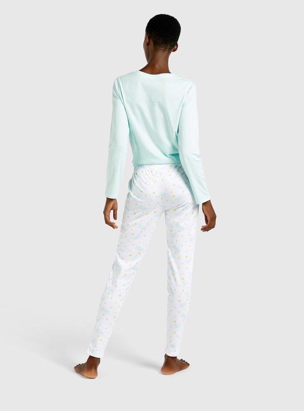 Printed Long Sleeves T-shirt and Full Length Pyjama Set