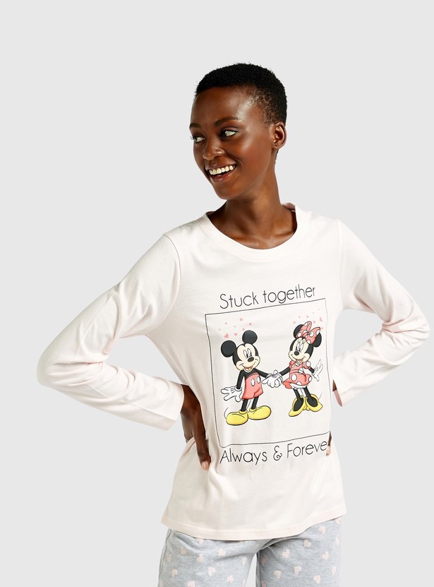Mickey and Minnie Mouse Print T-shirt and Full Length Pyjama Set