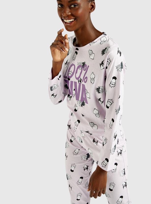 All-Over Print Long Sleeves T-shirt and Pyjama Set