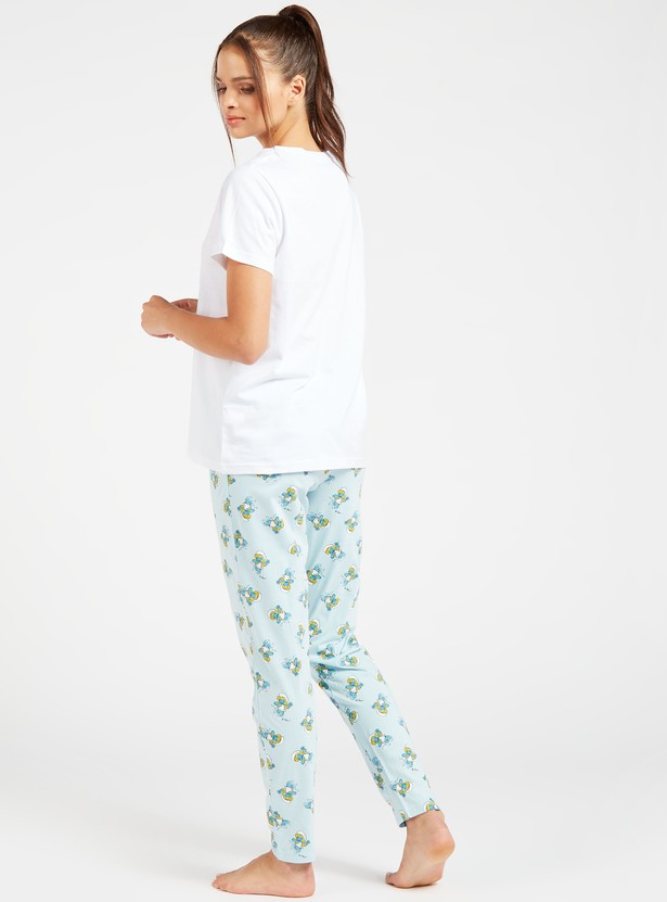 Smurf Print Short Sleeves T-shirt and Full-Length Pyjama Set
